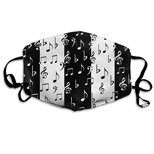 Weibliche Security Kostüm - Masken für Erwachsene, Mask Face, Mouth Mask, Breathable Mask Anti Dust, Unisex Black and White Music Notes Printed Cotton Mouth-Masks Face Mask Polyester Anti-dust Masks