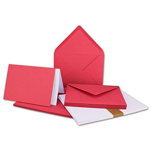 Faltkarten SET mit Umschlägen & Einlegern DIN A6 / C6 in Flamingo-Pink | 25 Sets | Doppel-Karten & Briefumschläge aus Premium-Papier, 14,8 x 10,5 cm | mit weißem Einlegeblatt | für Drucker geeignet | NEUSER®Qualitätsmarke: FarbenFroh® Hot Pink Karten-umschläge