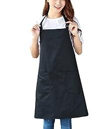 Aivtalk - Mandil Camarero Delantal de Trabajo Pintura Camarero Ajustable Unisex para Cocina Restaurante - Negro