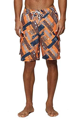 KISSMODA Beach Shorts für Herren Badehose Quick Dry Regular Size Bademode Camouflage Orange Medium Orange Camouflage