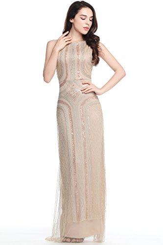ArtiDeco 1920s Kleid Damen Maxi Lang Abendkleid Gatsby Motto Party Flapper Kleid Damen Kostüm Kleid (Beige, S)