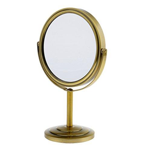 MagiDeal Doppelseitiger Tischspiegel, Rund Vergrößerung Kosmetikspiegel, Standspiegel 360 Grad Drehbar Spiegel - Bronze, 235 x 140 x 15 mm