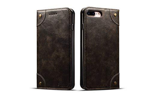 Retro Leder Wallet Case für Apple iPhone 7P/8P, Folio Card Money Holder Kickstand Protective Durable Unisex Mode Cover Shell, schwarz
