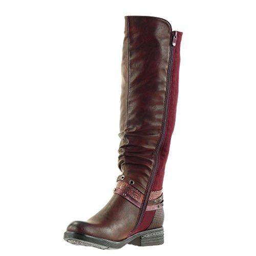 Angkorly - damen Schuhe Stiefel - Reitstiefel - Kavalier - Biker - bi-Material - Geflochten - Multi-Zaum - Nieten - besetzt Blockabsatz high heel 3.5 CM Burgunderrot