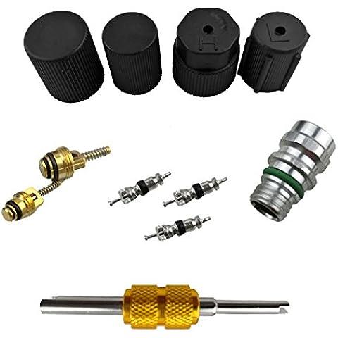 Tapa de Sistema de Aire Acondicionado + Válvula Servicio Kit + Schrader Removedor de Válvula Núcleo + Herramienta Instalador para Coche