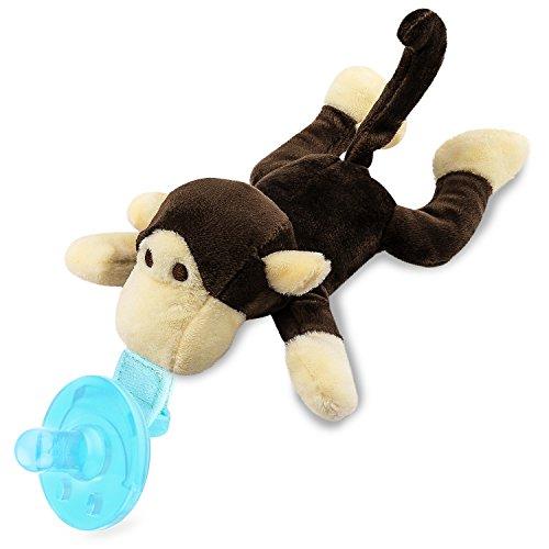 Zooawa Premium Baby Silikon Schnuller mit abnehmbarem Stofftier, geeignet für 0-18 Monate, Affe
