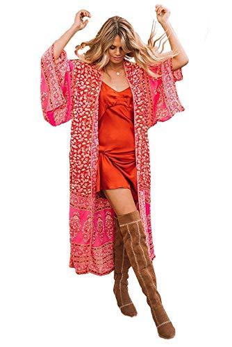 LLG Kimono-Cardigans Bademode Pareos Strandkleider, Damen Bikini Sets Bademode Strandkleid Einheit Größe Kleidung Strand Hemdkleid V-Ausschnitt Rock(KIMIC110) (Color 8)