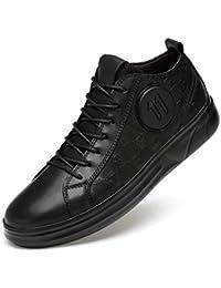 WOJIAO Zapatos Casuales de Hombre Vestido de Cuero Negro Casuales de Boda Trabajo de Oficina Mocasines