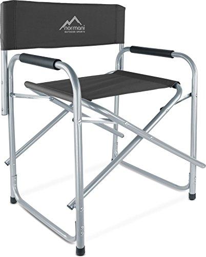 normani Regiestuhl Campingstuhl Faltbar bis 150 Kg, Stahl mit Gepolsterten Armlehnen Farbe Schwarz
