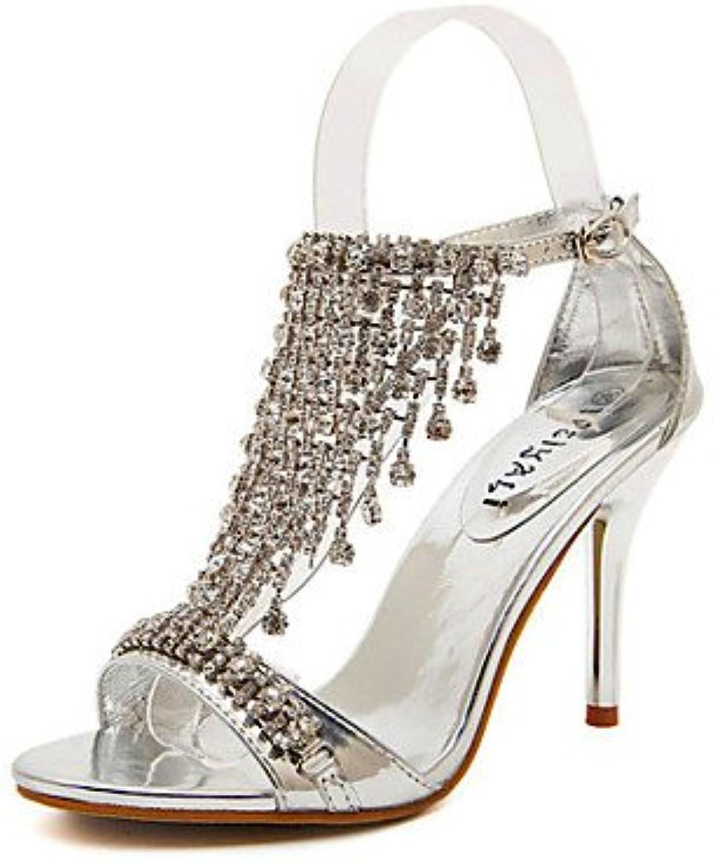ligaosheng Mujer-Tacón Stiletto-TaconesCasual-Semicuero-Plata/Oro, Golden, us5.5/eu36/uk3.5/cn35 - Zapatos de moda en línea Obtenga el mejor descuento de venta caliente-Descuento más grande