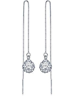 Unendlich U Modisch Damen Quaste Lange Durchzieher 925 Sterling Silber Shamballa Kristallkugeln Ohrhänger Ohrringe...