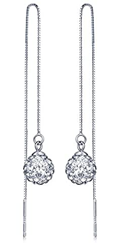 Infinite U 925 Sterling Silver 9mm Crystal Shamballa Ball Threader Long Drops Dangles Pull Through Chain Earrings for Women/Girls,
