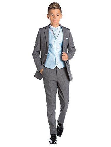 (Paisley of London, Knabenanzug, grau, feiner passgenauer Anzug, Weste & Krawatte, 12-18Monate–13Jahre Gr. 10 Jahre, blau)