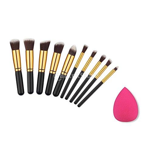 Kit de Maquillage 10pcs Brosse + Eponge Blender à Visage Yeux Lèvres - Noir doré