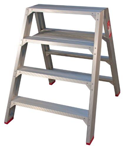 Jumbo Super Proff 41TSB204 Breite Bockleiter Aluminium 4 Stufen Beidseitig Begehbar