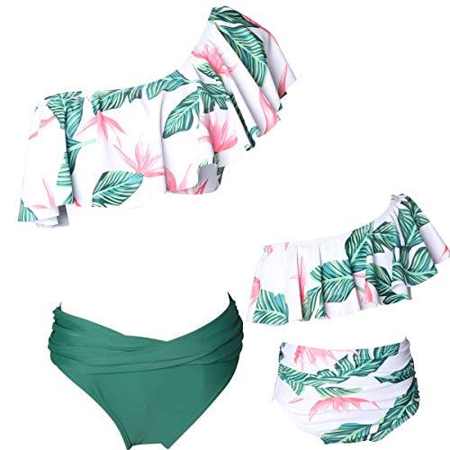 Glückliche Käufer Damen mädchen Diverse Badeanzug Raffung Einteiler High Neck Raffung Halter Bikini Set, Mutter Tochter Familie Set Bademode, Alter 4-5, 11