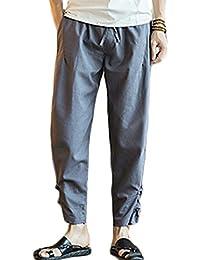 Simgahuva Mens Ropa Casual Botón Drawstrintg Playa Pantalones Cintura Elástica