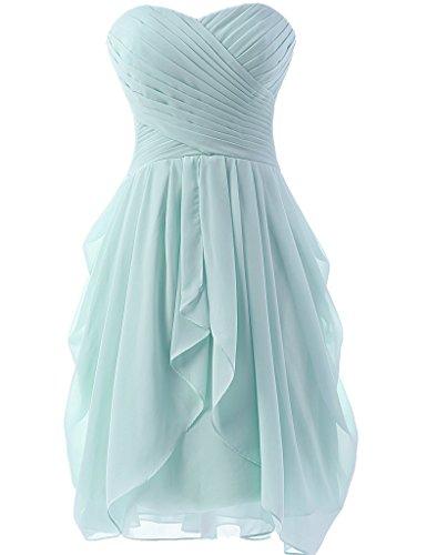 Huini senza spalline damigella d' onore abiti corti Chiffon Prom abito increspato Ice Blue 40