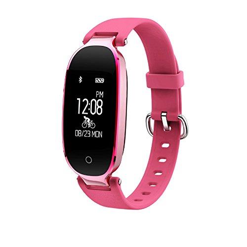 uxradg Fitness Tracker für Frauen, Herzfrequenz Activity Tracker Monitore Schrittzähler Smart Armband SmartWatches IP67waterproof-calorie/Sleep/Schritt/Herz-Tracking Bluetooth Schrittzähler Armband, rose