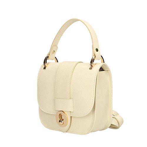 Chicca Borse Borsa a mano in pelle 19x17x7 100% Genuine Leather Beige