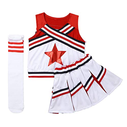 CHICTRY Mädchen Cheerleaderin Cheerleading Kostüm Uniform Ärmellos Tank Tops mit Minirock Socken Karneval Fasching Party Halloween Tanz Kostüm Rot (Top 10 Der Besten Halloween Kostüme Für Kinder)