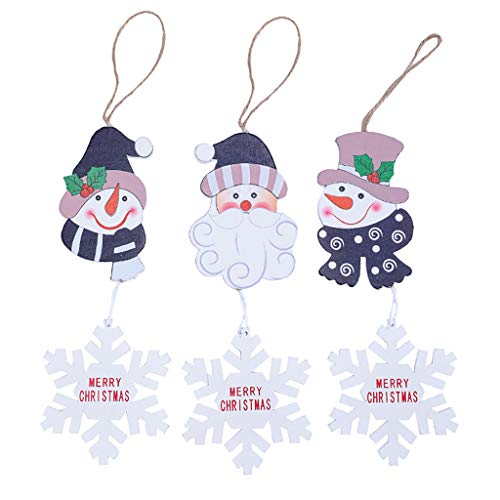 Vijtian - decorazioni natalizie in legno da appendere all'albero di natale, 3 pezzi, ecologiche, la scena dell'albero di natale è vivace a
