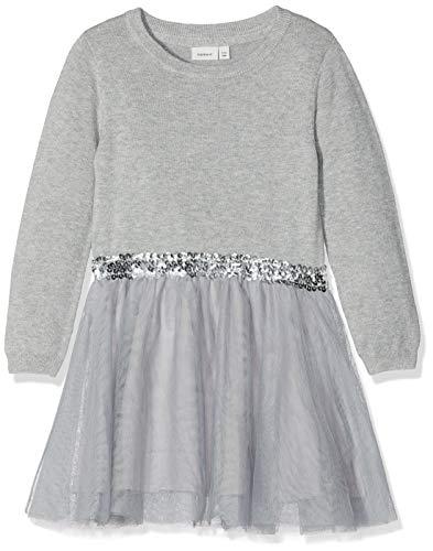 NAME IT Mädchen Kleid NKFRALUKKA LS Knit Dress NOOS 13162828, Einfarbig, Gr. 140, Grau (Grey Melange)