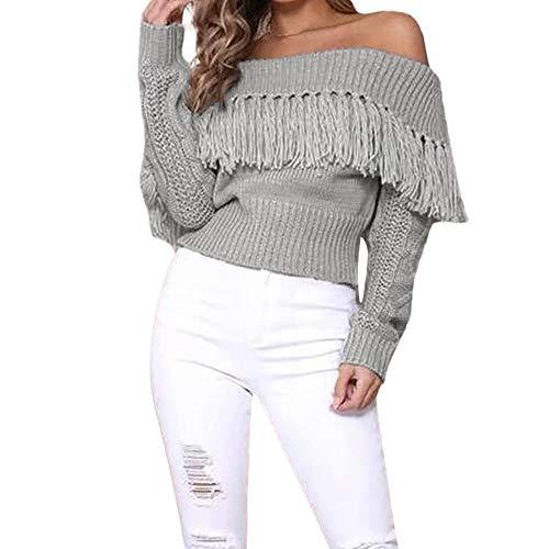 MIRRAY Damen Lässige Trägerlose Bluse Mode Quaste aus Schulter Gestrickten Pullover Tops