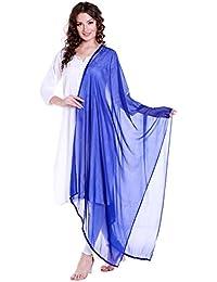 Dupatta Bazaar Women's Blue Chiffon Dupatta With Lace.