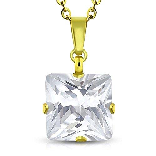 Bungsa Goldene Halskette Kristall viereckig Edelstahl Zirkonia Klar Damen (Edelstahlkette Damenkette Herrenkette Necklace Herren Frauen Männer Schmuck)