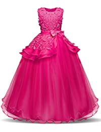 NNJXD Fille sans Manches Broderie Princesse Pageant Robes Enfants Bal Robe de Bal