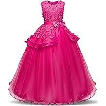 NNJXD Vestido de Princesa del Desfile con Encajes sin Mangas Falda de Fiesta para Niñas
