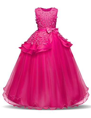 os Stickerei Prinzessin Festzug Kleider Abschlussball Ballkleid, Rose 1, 8-9 Jahre / Herstellergröße: 140 ()