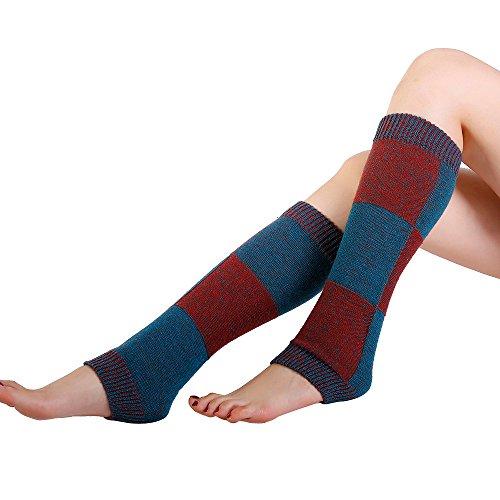 TWIFER Winter Warm Knit Stulpen Stickerei Slouch Boot Socken Beinwärmer (A-Rot, 42cm)