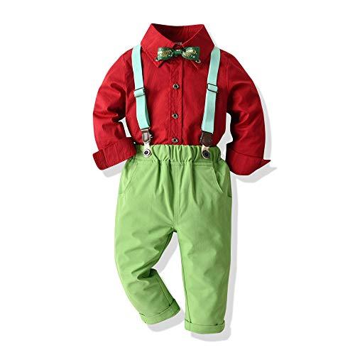 Baby Jungen Bekleidungssets Kinder Langarm Shirt Weihnachten Kostüm Boy Baby Bao Langarm Shirt Bow Party Baumwollhemd Vier Stück 100cm (Kirche Boy Kostüm)