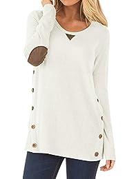 NICIAS Damen Seitliche Tasten Langarmshirt Pullover Lässige Rundhals Sweatshirt Ellenbogen Gepatcht Hemd Lose T Shirt Blusen Tunika Top