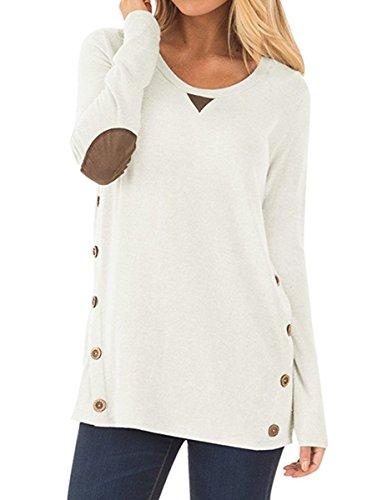 NICIAS Damen Seitliche Tasten Langarmshirt Pullover Lässige Rundhals Sweatshirt Ellenbogen Gepatcht Hemd Lose T Shirt Blusen Tunika Top(Weiss, S)