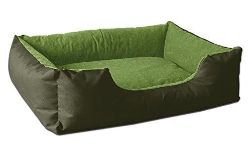 BedDog Hundebett LUPI/Hundesofa aus Cordura & Microfaser-Velours/waschbares Hundebett mit Rand/Hundekissen Vier-eckig/für drinnen & draußen/L / Green-Tea/grün-grün