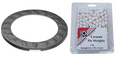 Non Stick Pie Crust Shield and Ceramic Pie Weights Baking Set by R&M Ceramic Pie Weights