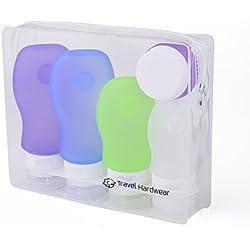Set de Botes de Viaje de Silicona de Travel Hardwear- 4x89ml Recargables para Equipaje de Mano Bolsa Incluida aprobada por TSA. Pack de 4 Libre de BPA. (100ml) (2 x 89ml, 1 x 60ml, 37ml, 20ml)