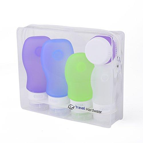 e Flaschen Set & Kulturbeutel - Farbige Silikon Fläschchen mit Saugnapf und Flugzeug Kulturtasche für Handgepäck Kosmetiktasche Reiseflaschen für Shampoo Creme Spülung Körperpflege ()