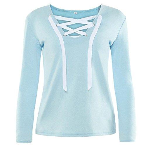 Damen Sweatshirt Langarm Sonnena Verband Hemd mit V-Ausschnitt Bluse Tops (Asian M, Blau) (Top Henley Hooded)