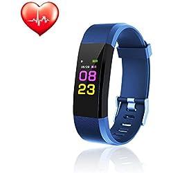 Teepao Fitness Watch/Tracker, pulsera inteligente de actividad con monitor de ritmo cardíaco, IP67 impermeable con contador de calorías, podómetro, monitor de sueño para niños, mujeres, hombres