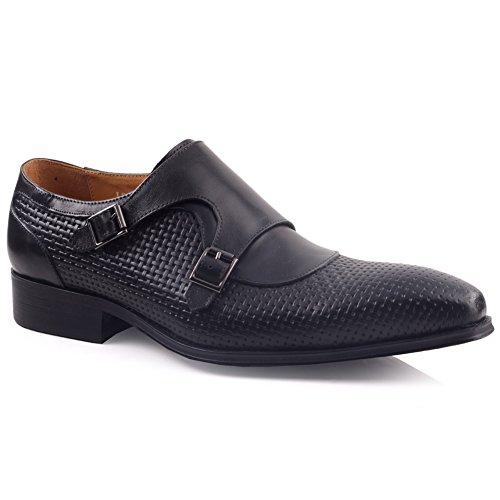 Unze Für Männer Millan Leder Elegante Schuhe - LE502-10 Schwarz