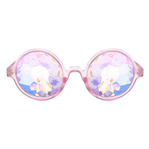 Makefortune Frauen Sonnenbrillen, Kreatives Design Kaleidoskop Gläser Rave Festival Party EDM Sonnenbrille Gebeugtes Objektiv (Rosa-A)
