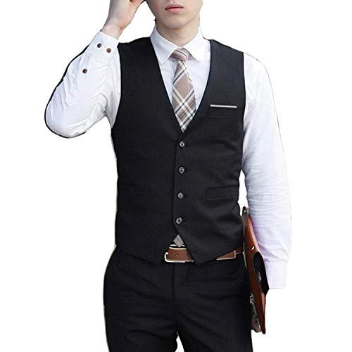 Formale Tuxedo Jacket (Emmay Men's Formal Dress Waistcoat Suit Tuxedo Coat Slim Business Suit Wesentlich Vests Formal Hochzeit Fashionable Designed Anzugsweste (Color : Schwarz, Size : 4XL))