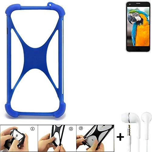 K-S-Trade Bumper Vestel V3 5040 Schutzhülle Handyhülle Silikon Schutz Hülle Cover Case Silikoncase Silikonbumper TPU Softcase Smartphone, Blau (1x), Headphones