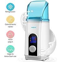 Calienta Biberón Refrigerador Yogurtera 3 en 1, YISSVIC Multifuncional Enfriador y Calentador de Botellas Auto/Casa Dual Uso Reserva Inteligente con Pantalla LCD, 40W, 500ML