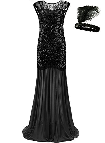 Frauen Jahrgang 1920s Pailletten Maxi Langer Abend Vom Party Cocktail Kleid Dress (Silver, S) (Silver Womens Cocktail Kleider)