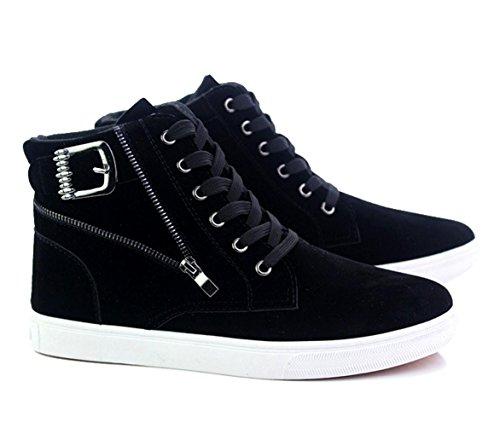 WZG Herren High-Top Schuhe Herrenmode lässig dicke Kruste Martin Stiefel kurze Stiefel Schuhe Hip-Hop Black